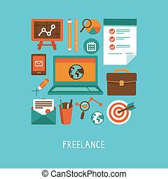 concept, freelance, werken, vector