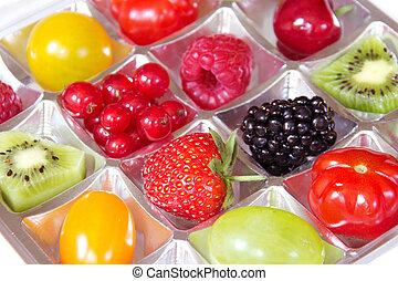 concept, fris, -, doosje, dieet, vruchten, anders, chocolade