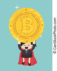 Concept Funny superhero Business Woman flying hold Bitcoin