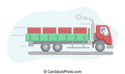 concept., furgão, caricatura, montando, work., esboço, personagem, tijolo, apartamento, pallets., caminhão, trabalhador, construção, ilustração, truck., operador, maquinaria, macho, carregado, flatbed, jobs., vetorial, linear