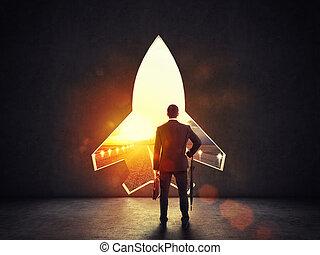 concept, fusée, mur, démarrage, départ, alludes, forme, vers, buts, nouveau, trou
