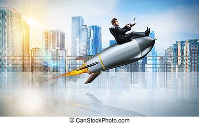 concept, fusée, ordinateur portable, jeûne, internet, homme affaires, sur