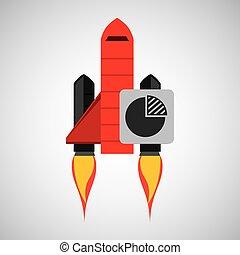 concept, fusée, stratégie commerciale, plan, rouges