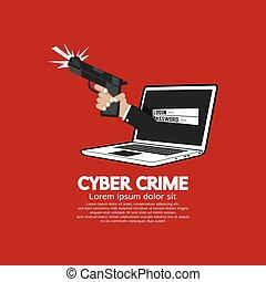 concept., fusil main, cyber, crime