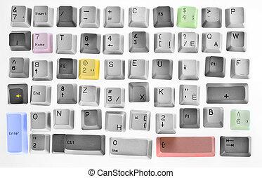 concept, futuriste, virtuel, clavier