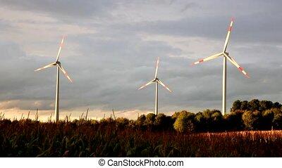 concept, générateur, turbines, énergie, -, vert, vent, ...