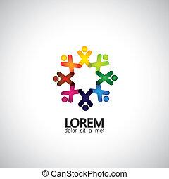 concept, g, gens, &, -, communauté, unité, vecteur, icônes, solidarité