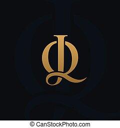 concept, gabarit, jq, conception, luxe, lettre, logo