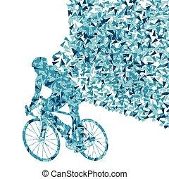 concept, gagnant, isolé, cyclistes, vecteur, fond, fragments, fait, cavalier