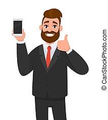 concept, gai, pouces, smartphone/mobile/cell, style., holding/showing, affaire, nouveau, bon, marque, consentir, signe., accord, illustration, main, téléphone, dessin animé, haut, vecteur, homme affaires, faire gestes, approuver