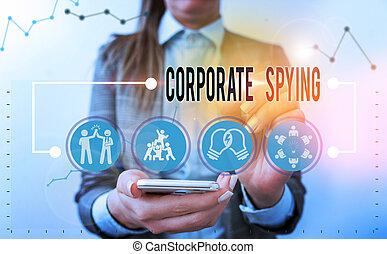 concept, gain, investigation, constitué, texte, écriture, concurrents, écriture, signification, spying., business, advantage.