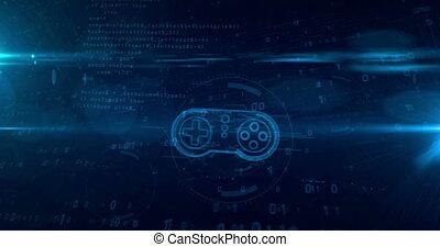 concept, gamepad, tunnel, contrôleur, hologramme, boucle