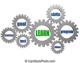 concept, gearwheels, gris, mots, apprendre, argent