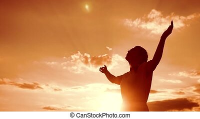concept, gebed, meisje, biddend, vertragen, silhouette, haar...