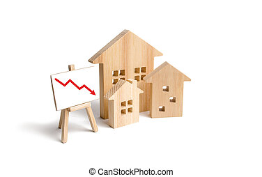 concept, gebouwen., herfst, recessie, koers, omlaag., kwaliteit, crisis, behuizing erfenis, laag, nieuw, het vallen, rood, echte, huisen, bouwsector, opeisen, prijzen, houten, figuren, richtingwijzer