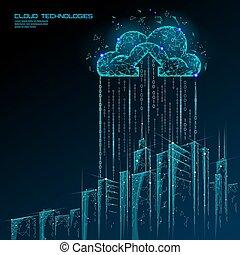 concept, gegevensverwerking, cityscape., wolk, stad, spandoek, opslag, toekomst, online, intelligent, smart, 3d, stedelijke , zakelijk, verwisselen, groot, illustratie, data, gebouw, technology., licht, vector, futuristisch