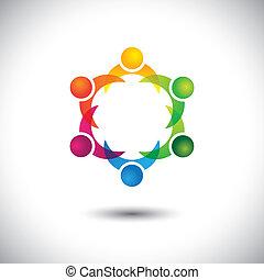 concept, geitjes, &, mensen, -, samen, spelend, vector, kinderen