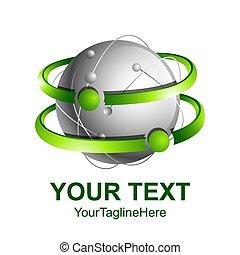 concept, gekleurde, abstract, banen, creatief, bol, vector, groene, mal, logo, ontwerp, 3d, zilver, element., pictogram