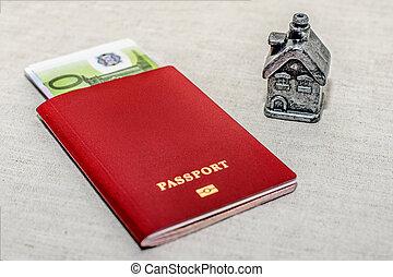 concept, geld, -, property., russische , thuis, paspoort, aankoop, rood