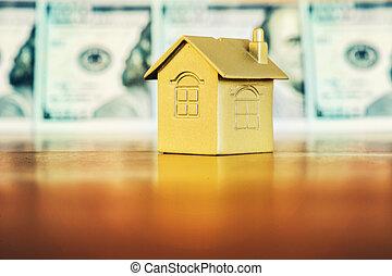 concept, geld, -, thuis, eigendom, aankoop, paspoort