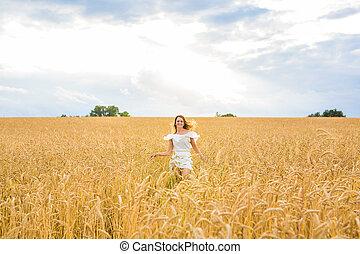 concept, geluk, mensen, natuur, herfst, -, vakantie, jonge vrouw , field., zomer