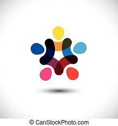 concept, &, -, gemeenschap, eenheid, vector, gra, vriendschap, solidariteit
