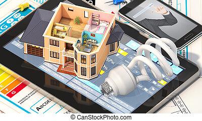 concept, gemeubileerd, woning, huisvesting, illustratie, groenteblik, zien, project., architect, kamers, hebben, woongebied, design., waar, aanzicht, gereedschap, blueprints., 3d