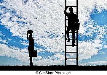 concept, genre, contre, leur, inégalité, discrimination, ...