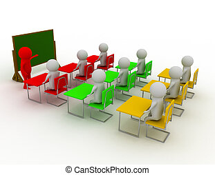 concept, gens, blackboard., hommes, -, main, personne, fin, education, indicateur, learning., 3d
