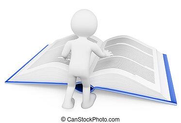 concept, gens., book., apprentissage, blanc, lecture, 3d
