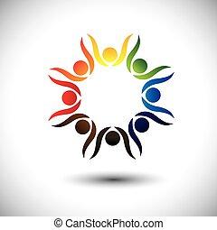 concept, gens, célébrer, vif, enfants, aussi, fête, cercle, excité, danse, coloré, friendship., jouer, gosses, amis, représente, école, graphique, gens, employés, vecteur, ou