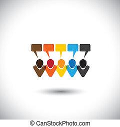 concept, gens, communauté, communication, interaction, bavarder, toile, gestion réseau, &, média, -, comments, aussi, vector., ligne, conversations, internet, représente, graphique, ceci, icônes, conversation, social, ou