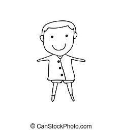 concept, gens, dessin, main, dessin animé, heureux