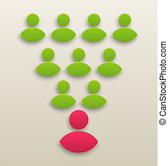 concept, gens fonctionnement, ensemble, équipe, icône