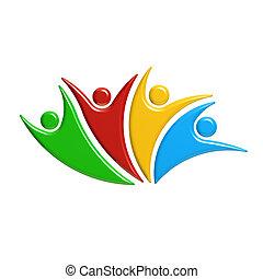 concept, gens., gagnant, illustration, rendre, collaboration, 3d