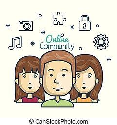 concept, gens, média, icônes, communauté, ligne