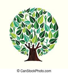 concept, gens, nature, arbre, vert, soin