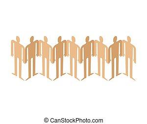 concept, gens, papier, équipe, prise, amitié, hands.