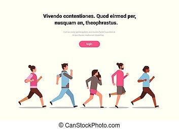 concept, gens, sport, espace, isolé, mélange, santé, plat, course, hommes, actif, mondiale, horizontal, copie, jour, femmes, formation, style de vie, sain, jogging, course, fitness