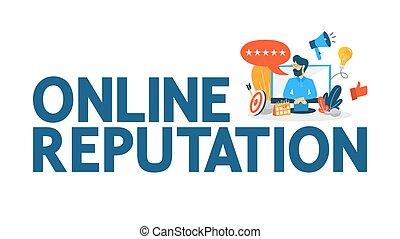 concept., gente, dirección, en línea, reputación, relación, edificio