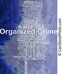 concept, georganiseerd, achtergrond, misdaad