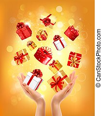 concept, geschenken., vector, vakantie, achtergrond, handen, cadeau, vasthouden, boxes., geven, kerstmis, illustration.