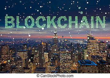 concept, gestion, blockchain, base données