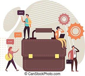 concept., gestion, conception, plat, illustration, vecteur, graphique, commercialisation