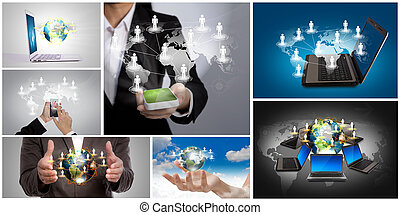 concept, gestion réseau, collection, social