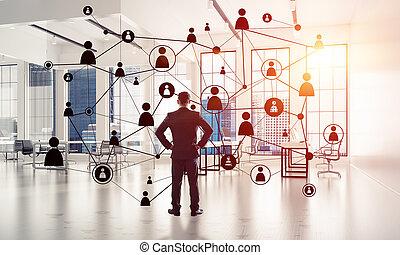 concept, gestion réseau, efficace, f, communication, point, social