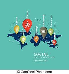 concept, gestion réseau, illustration, social