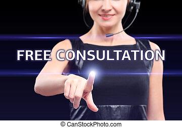 concept, gestion réseau, technologie, femme affaires, bouton, -, gratuite, écrans, urgent, virtuel, internet, consultation