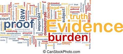 concept, getuigenis, achtergrond, bewijs