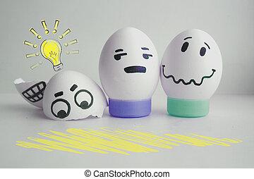 concept, gewaarschuwde, eitjes, twee, gezicht, vrolijk